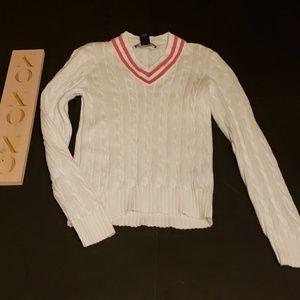 RALPH LAUREN GOLF chunky white v neck sweater